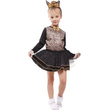 7 Sets/lot Free Shipping Kids Leopard Costumes Carnival Halloween Masquerade Fancy Dress Costumes Children Girls Cosplay Clothes