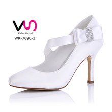 New style WR-7090-3 white satin upper handmade bridal wedding shoes dress shoes small platform dress shoes