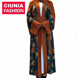 CM40# Arab colored floral print abaya with scarf muslim hijab wholesale latest middle east clothing robe musulmane