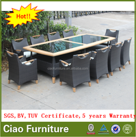 Outdoor Furniture Exclusive Rattan Dining Set With Teak Wood