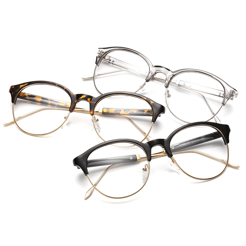 9890ed83f60c Classic Retro Clear Lens Nerd Frames Glasses Fashion brand designer Men  Women Eyeglasses Vintage Half Metal Eyewear Frame 125401
