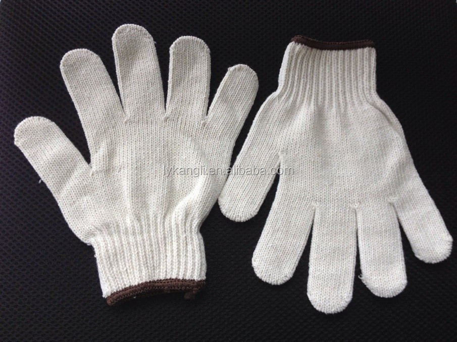 cotton knitted gloves plastic hand working gloves, touch screen gloves factory