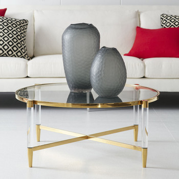 2017 Gold Console Coffee Round Table Acrylic Transparent Table