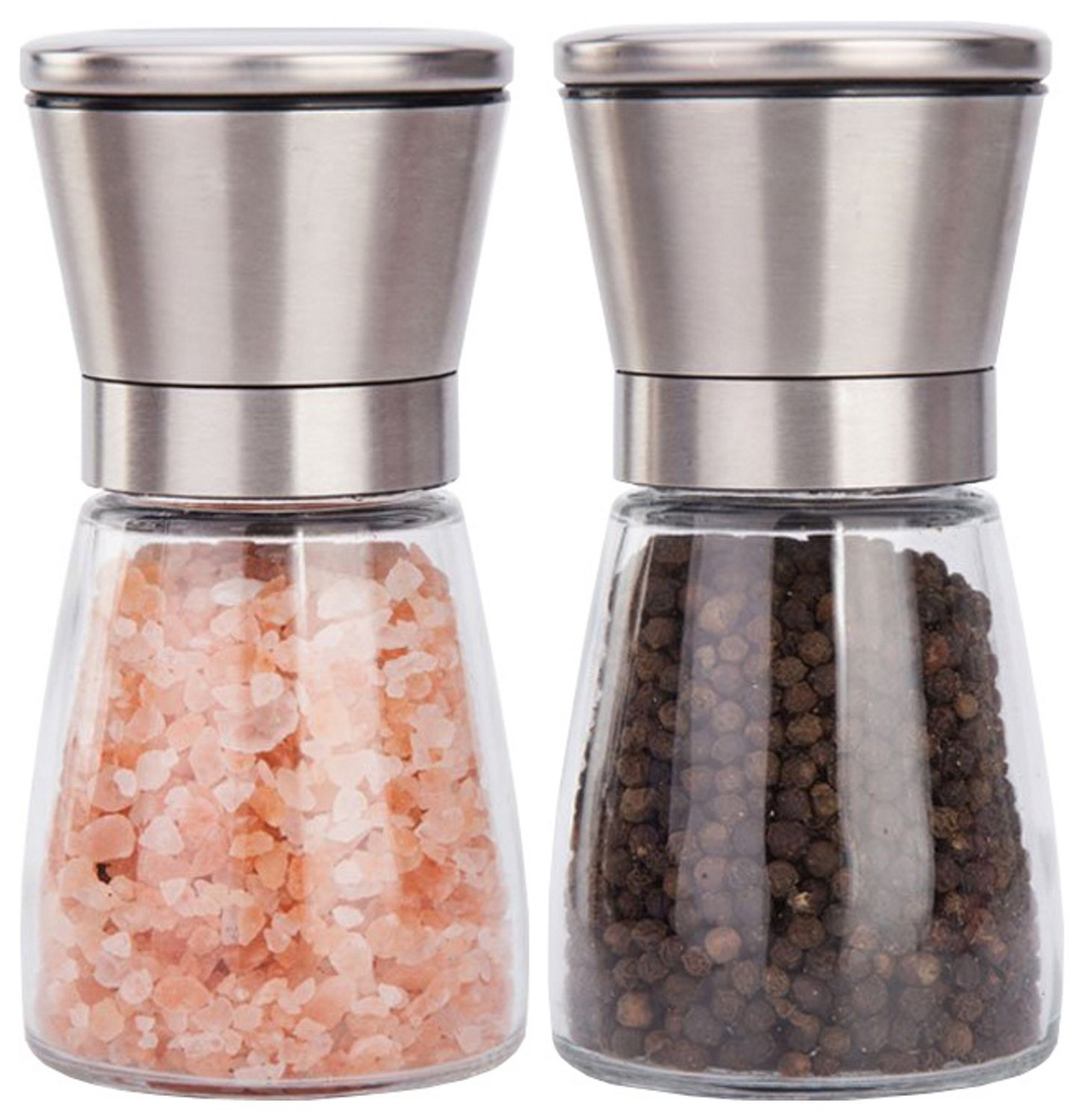 Salt and Pepper Grinder Set - Best Salt Pepper Shaker Grinder for White, Black, Red Pepper Grinder Mill-Premium Stainless Steel and Elegant Clear Glass-Easy to Fill Salt and Pepper Mill Set (Set of 2)