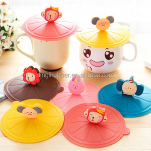 Food grade cartoon Silicone coffee Cup Lid cover