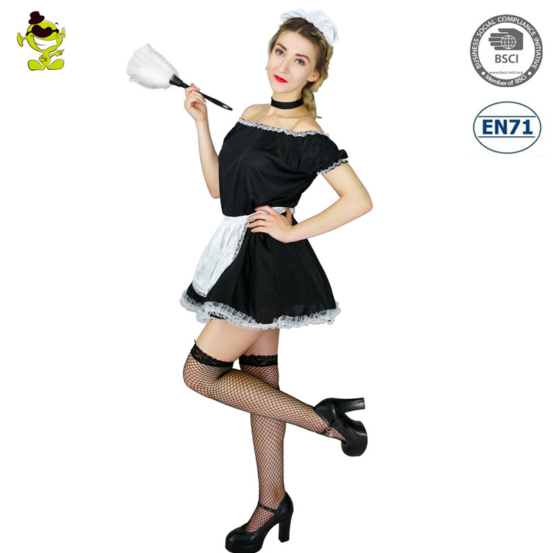 Sexy French Maid Costume Woman's Pilgrim Lingerie Cosplay Fancy Dress Outfit Carnival Cosplay