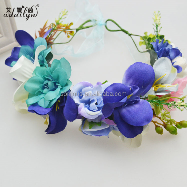 Adjustable Size High Quality Blue Artificial Flower Head Wreath