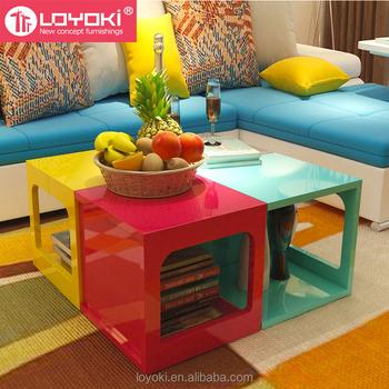 Desain Baru Warna Warni Wood Sofa Sisi Meja Multifungsi Assembly