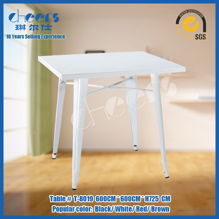 Wholesale restaurants cheap natural white color hammered metal coffee table and chair set