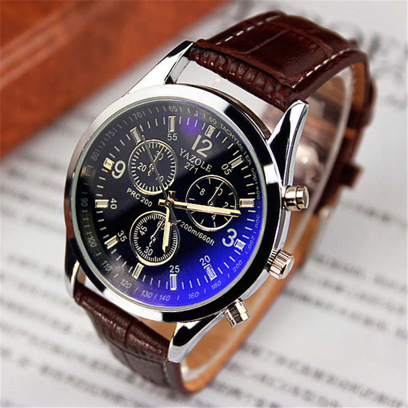 2018 Yazole watch men YAZOLE 271 blue glass quartz stainless steel back 3atm waterproof leather wristwatches