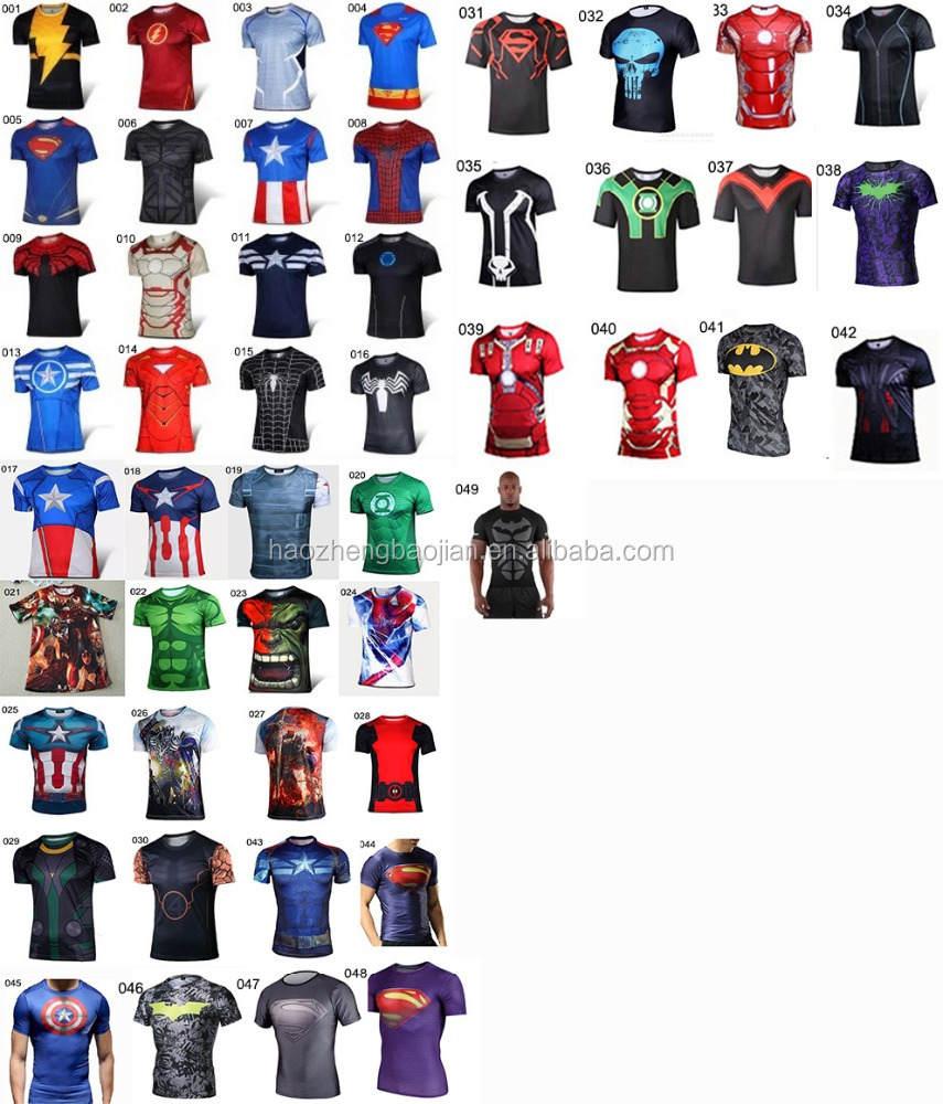 100% Polyester Sublimation Super Hero T-Shirt,SpiderMan&The Hulk&Iron Man&Captain America T-Shirt