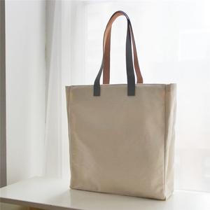 Factory customize print blank plain canvas tote bag long leather handles with custom logo