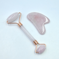 Amazon High Quality Face Care Rose Quartz Welding Jade Roller Guasha Board With Customized Box