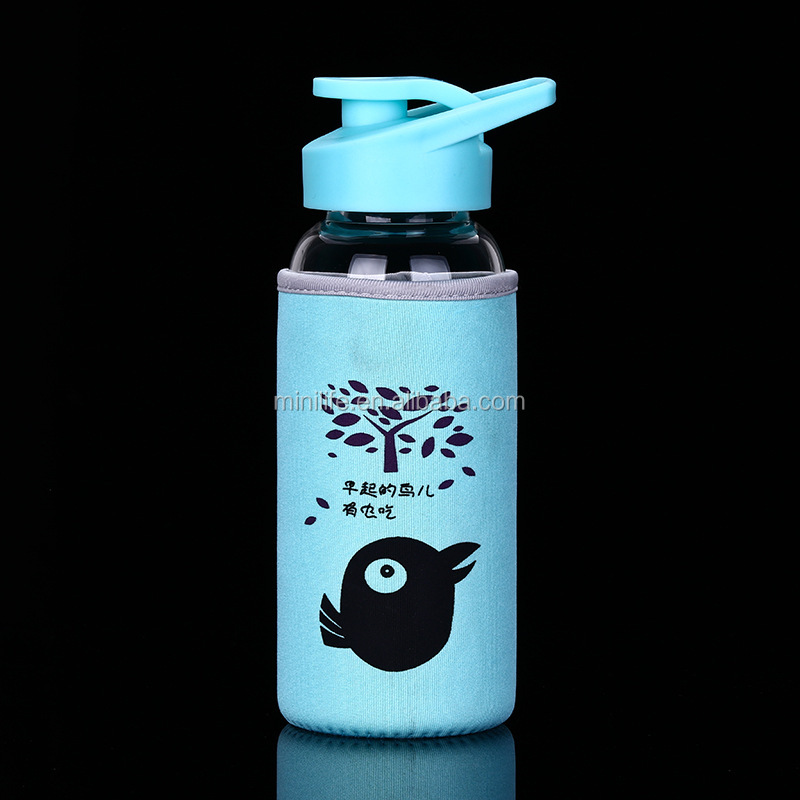 High Borosilicate Eco-friendly Portable Glass Water Bottle With Cloth Sleeve