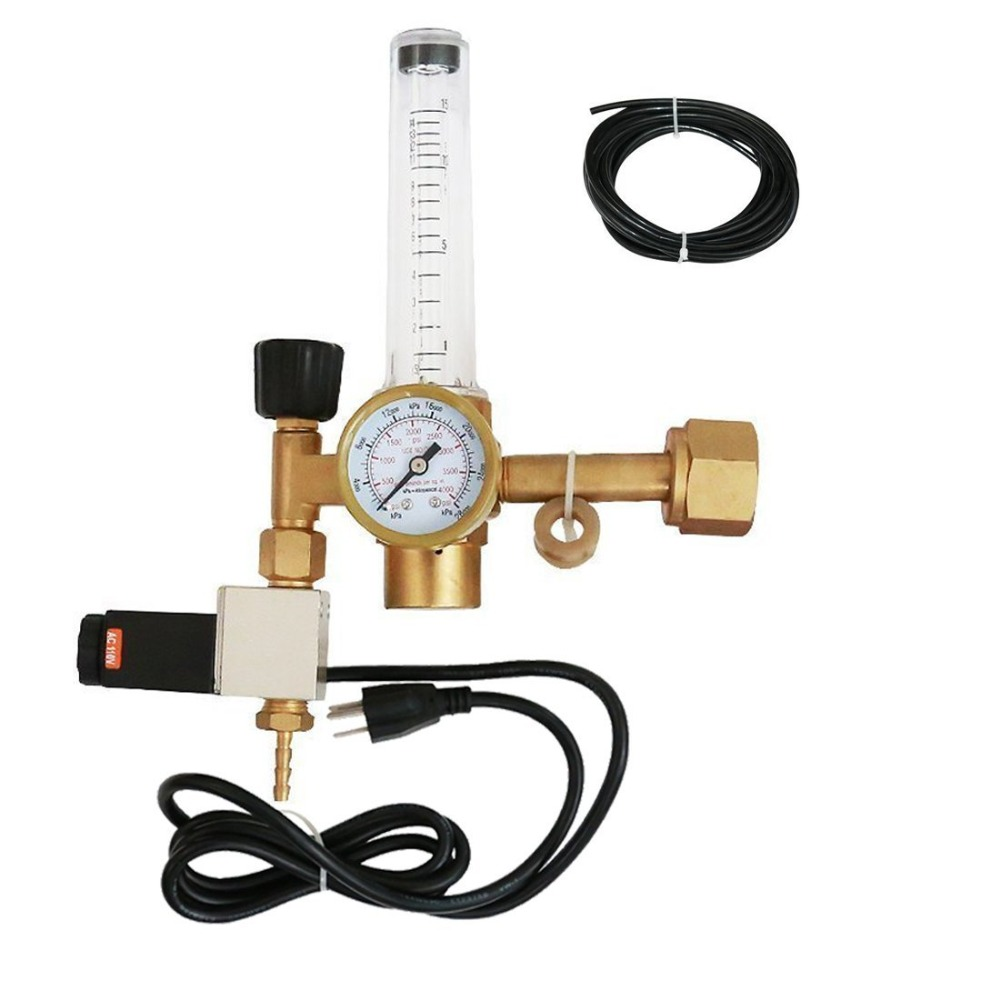 Hydroponics CO2 Regulator Emitter System with Solenoid Valve Flowmeter for Grow Room Grow Tent Green House Aquarium