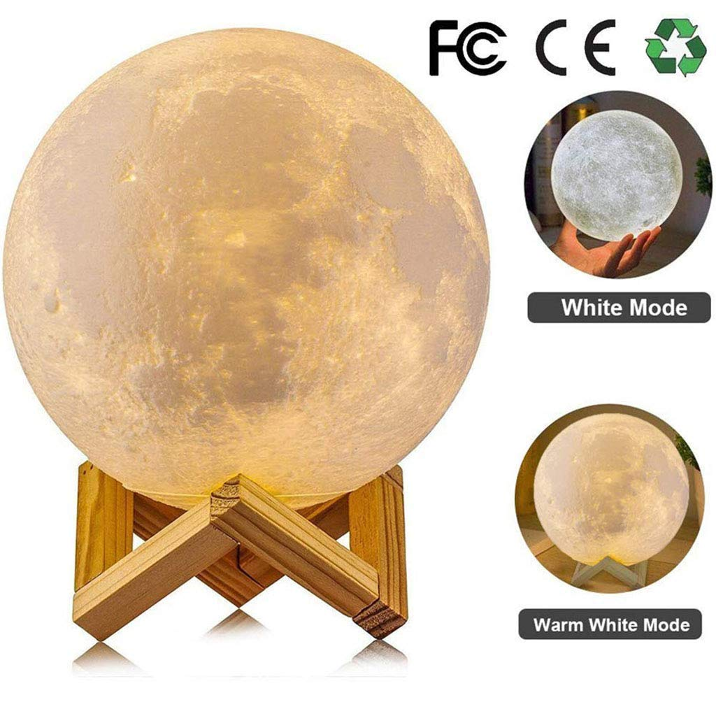 Iashion 3D Moon Lamp,Bedside Night Light,Touch/Remote Control Table Lamp Gift,Diameter 8Cm/15Cm,Remotecontrolversion,15CM