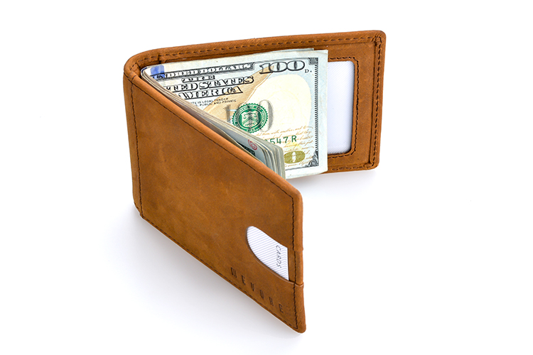 Hot sale factory price brown genuine leather slim rfid money clip card holder