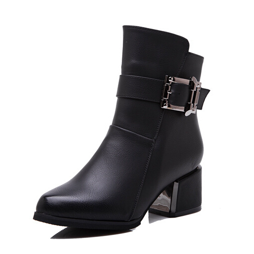 British Style Pointed Boots Buckle Winter Shoes For Woman High Heel Boots Thick With Zipper Boots High-heeled Warm Female Botas