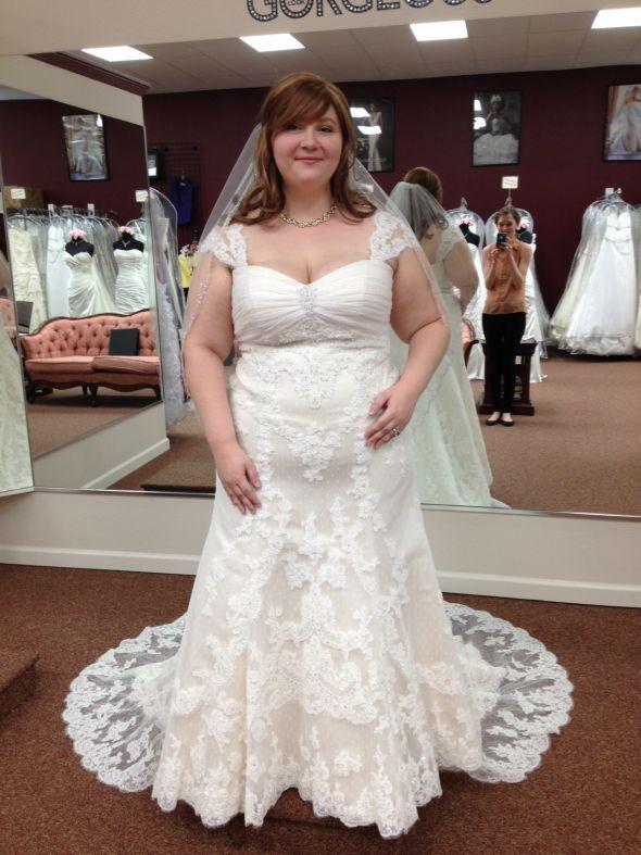Ll056 Plus Size Vestido De Noivas Cap Sleeve Wedding Dresses Lace A
