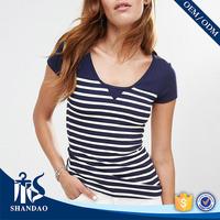 Guangzhou shandao factory casual o-neck short sleeve180g 100%cotton stripe ladies designer clothing made in china