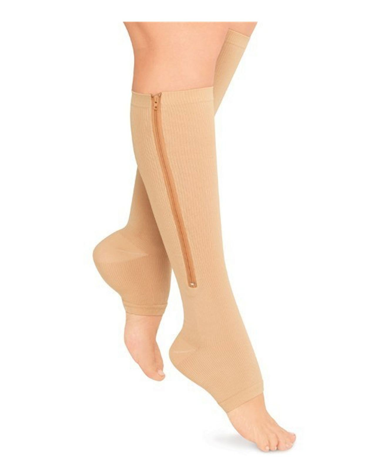 cae39ad2ac9 Get Quotations · Starmace Open Toe Zipper Compression Grade Leg Circulation  Reduce Fatigue Swelling Medical Recovery Support Stockings Socks