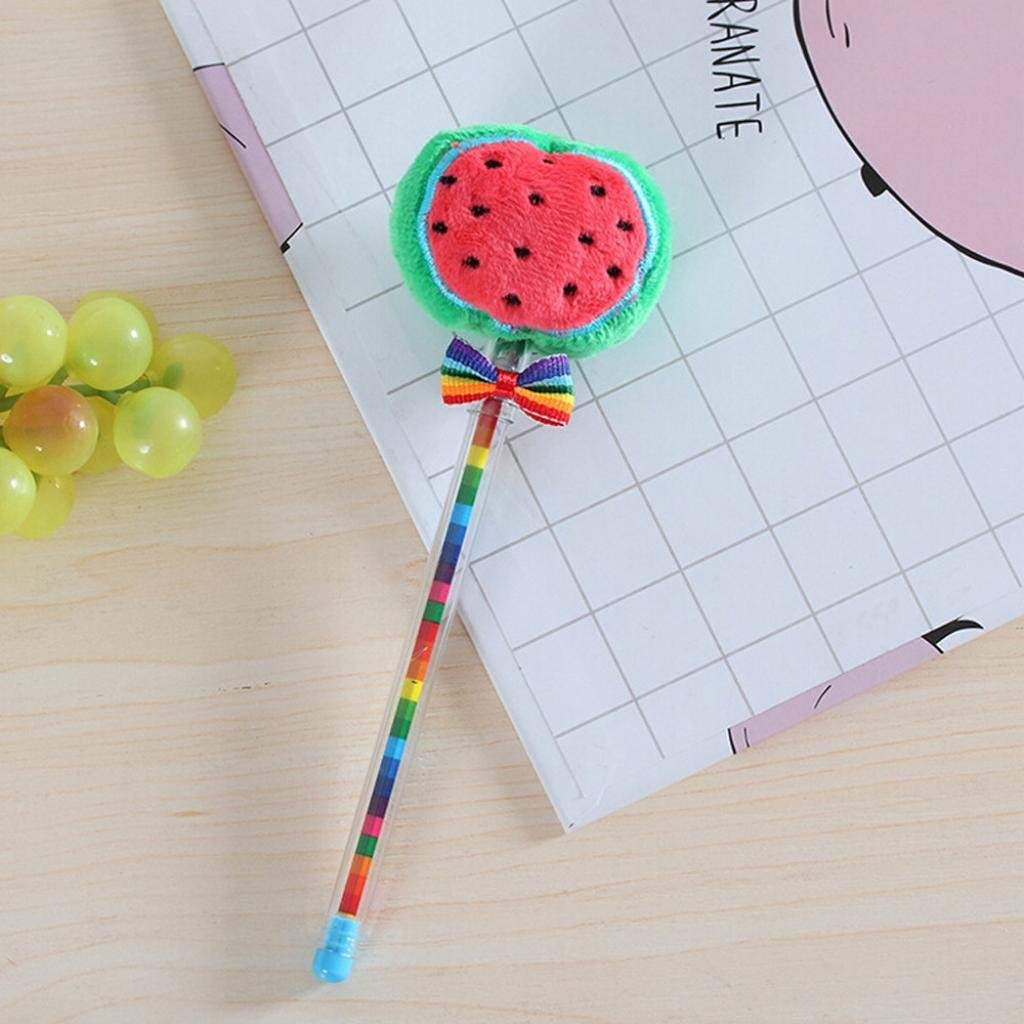 Hot Sale! Hongxin 1Pcs Student Prizes Creative Promotional Pens, Vegetable Fruit Balls Plush Ballpoint Pen, Cute Ball-Point Pens Back to School Supplies Creative Gift (E)