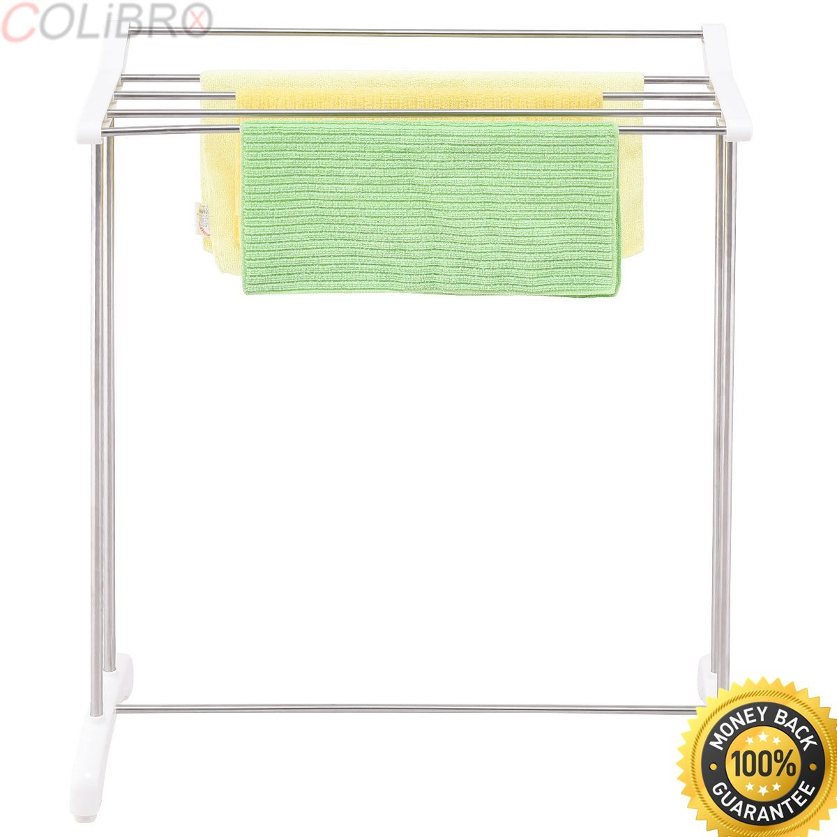 COLIBROX--Free Standing Towel Rack Stand Stainless Steel Bathroom Organizer Hanger New. free standing towel rack brushed nickel. free standing towel stand. floor towel rack. towel rack shelf.