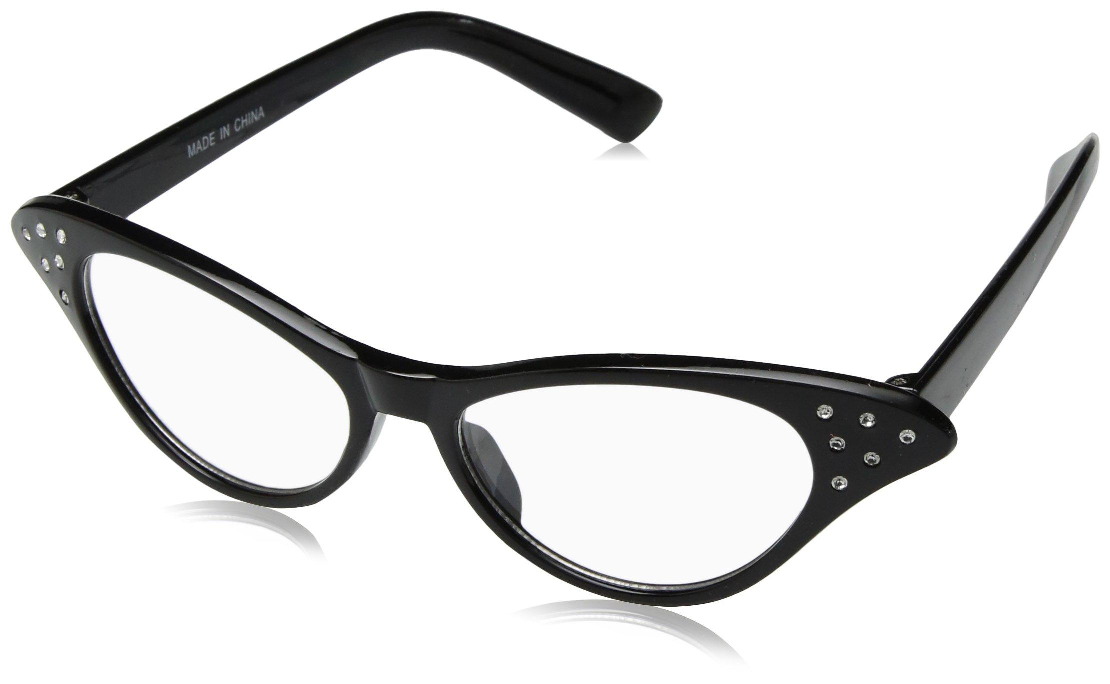 ef5fa7c14655 Get Quotations · Hip Hop 50s Shop Womens Cat Eye Rhinestone Glasses
