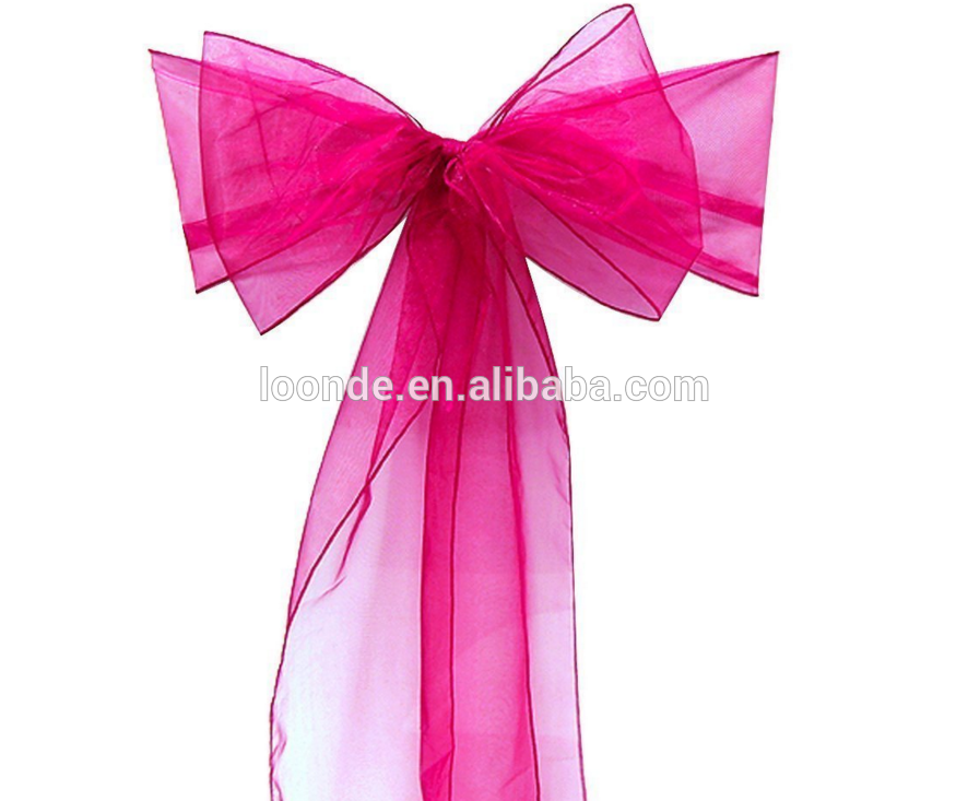assorted color cheap organza chair sash for wedding and events supplies party decoration