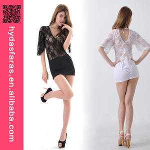 Lace Patchwork Black White See Through Nightwear Women sexy babydoll lingerie