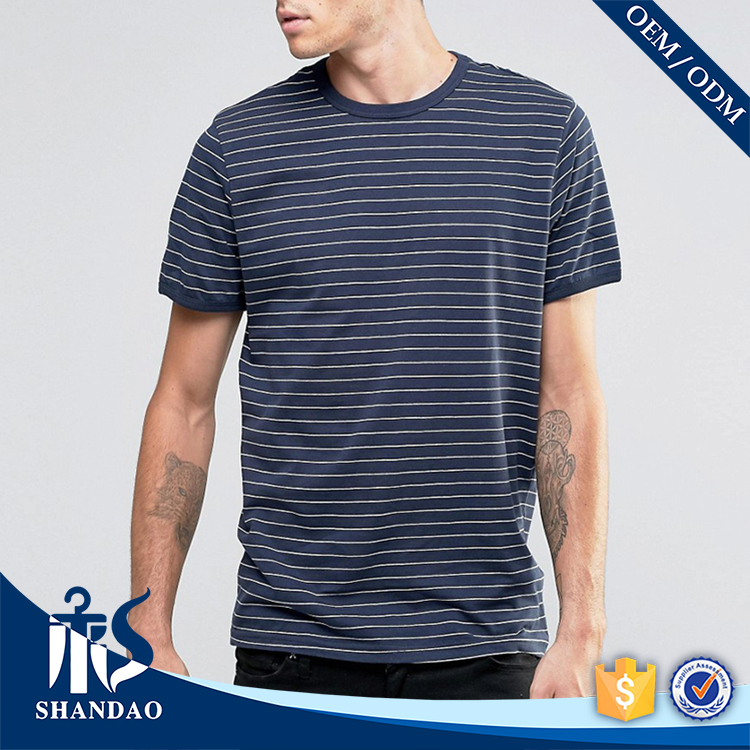 2017 high quality OEM manufacturer custom O-neck stripe 180g 65%Cotton 35%Polyester latest elongated t shirt