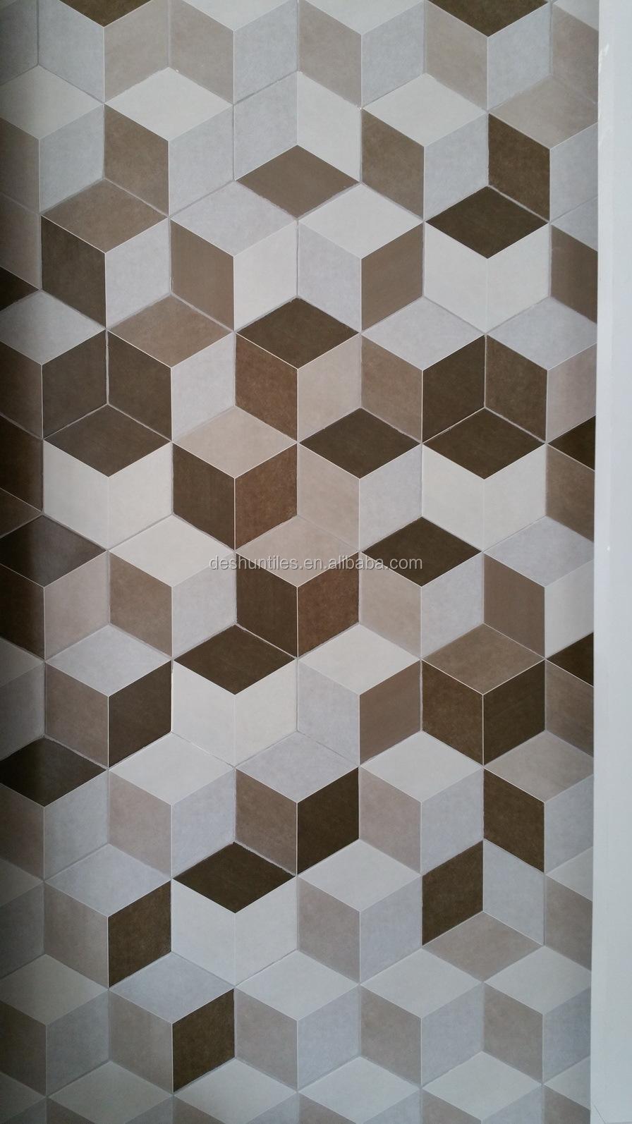 Three Dimensional Orange Hexagon Ceramic Floor Tile For