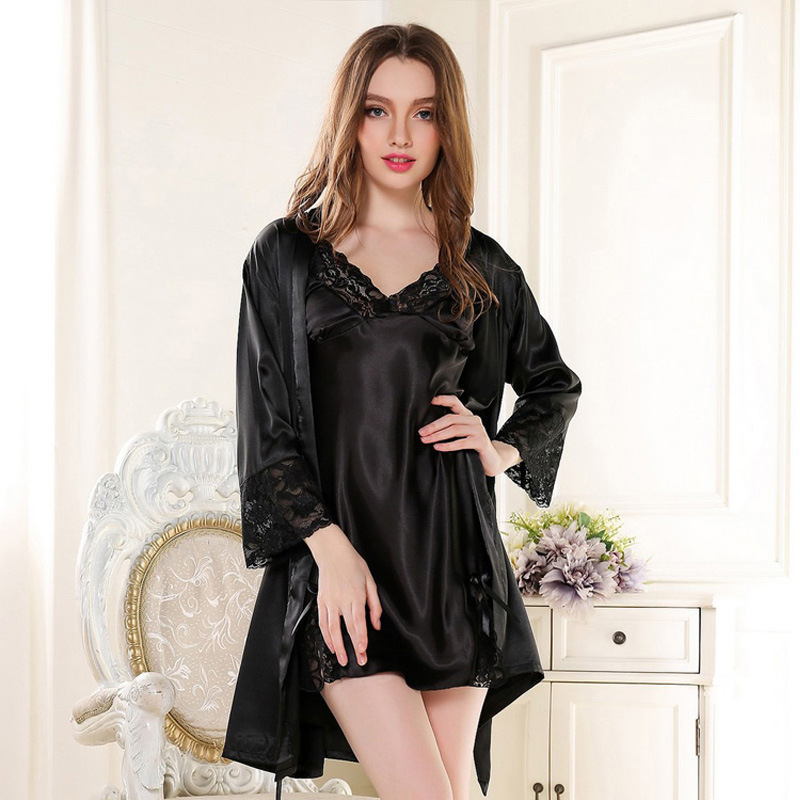 f12407a991 Buy 6 Colors Fashion Summer Women Silk Pajamas Robes Royal Sexy V-neck  Sleepwear Suit Plus Size Nightgown Dress nightgown M-XL in Cheap Price on  m.alibaba. ...