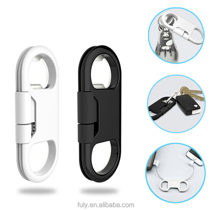 Portable Metal Keychain USB Data Charge Sync Cable + Bottle Opener For iPhone 7 Plus For Huawei Samsung S6