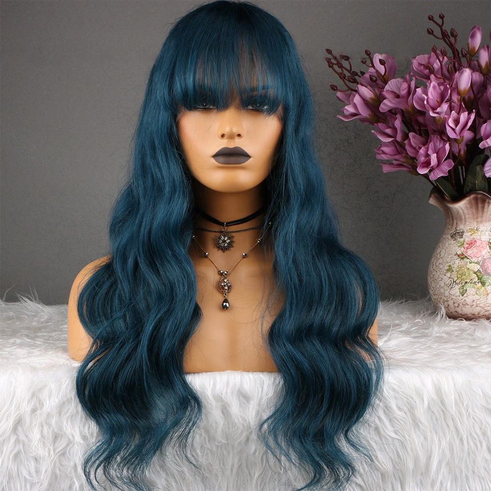 Aliexpress Dark Blue Body Wave Lace Front Premium Chinese Human Hair Wigs With Bangs фото