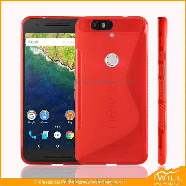 Hot Selling S Line TPU Case For Huawei Nexus 6P Smart Cover , S Pattern TPU Cover for Nexus 6P Shell