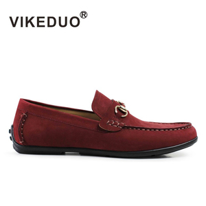 VIKEDUO Hand Made 2019 Factory Footwear Red Moccasin Driving Shoes Nubuck Suede Leather Casual Shoes Men