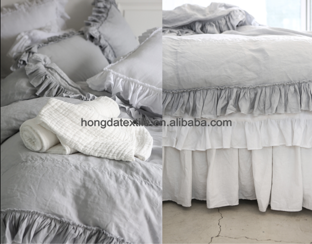 Luxury 100 French Linen Bedding Sets With Ruffles