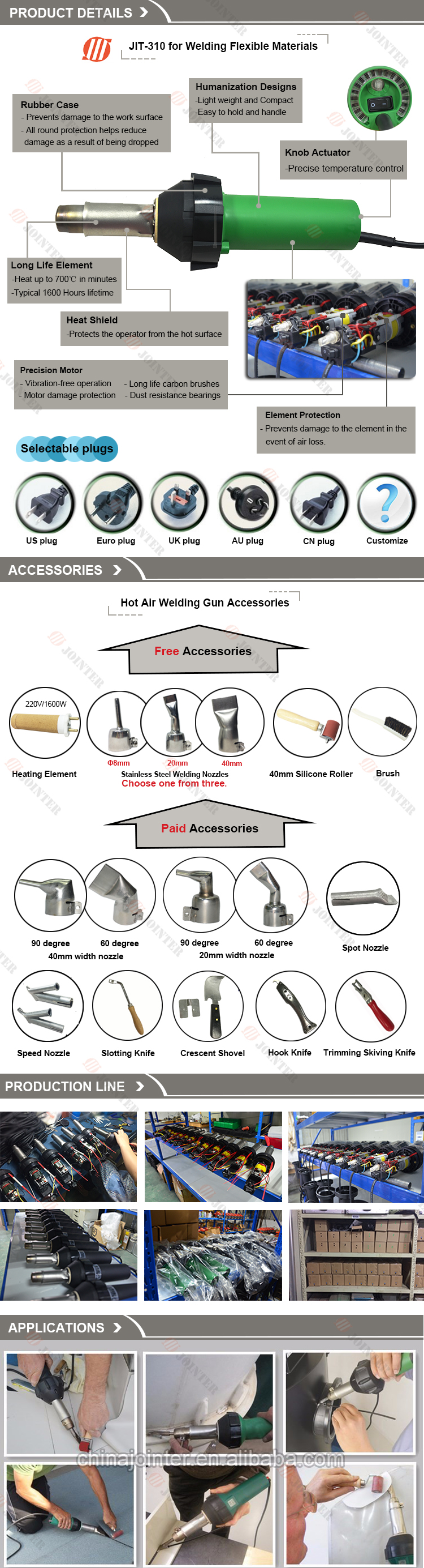 PVC Hot Air Blower Plastic Soldering Gun with 1600W Heating Element