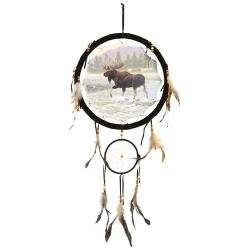 "13"" Dream Catcher - Moose, 13"" Dream Catcher with Beads/feathers. Second Hanging Dream Catcher Measures 5"". Picture in Center Measures 10"" (Print on One Side Only). Includes Hanging String and Feathers/beads As Shown."
