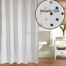 "Fabriek Microfiber Douchegordijn Metallic <span class=keywords><strong>Dot</strong></span> Gedrukt Badkamer <span class=keywords><strong>Gordijn</strong></span> Met Roest Proof Metalen Grommets Kraam 54x78 ""Golden <span class=keywords><strong>Dot</strong></span>"