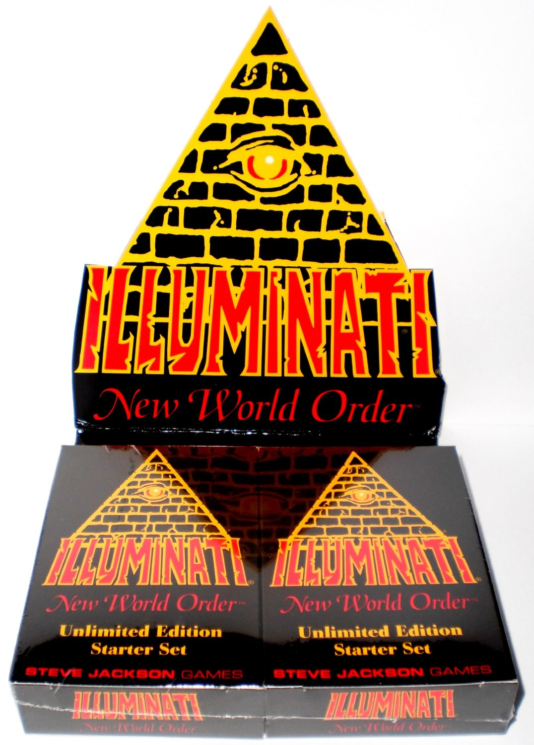 1995 - Illuminati New World Order collectible card game - (INWO Unlimited Edition Starter Set) Factory Sealed (CCG) Two Double Decks 55 cards each INWO rulebook (110 Cards total) By Steve Jackson (Unlimited Edition Original Version 1.1 March 1995)