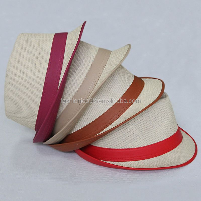 2017 Wide Brim Sun Hats for Women Men Jazz Caps Panama Fedoras Unisex Top Beach Visor Hat Straw Cap Brief Solid
