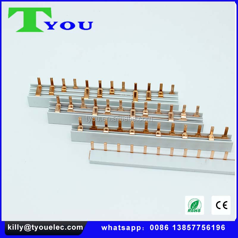 Pin Type Pure Copper Busbar ,Copper Busbar for MCB ,electric copper earth bar L type busbar63A 1POLE