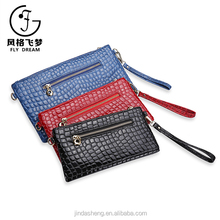 Promotional customized double zipper ladies purse wallet with chain shoulder stone grain cosmetic bag