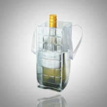 reusable custom pvc gel single beer bottle wine bag cooler with handle
