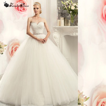 Princess Ball Gown Pretty Tulle Wedding Dress With Detachable Sash Vestidos De Novia 2015 Casamento Bride Wedding Dresses New