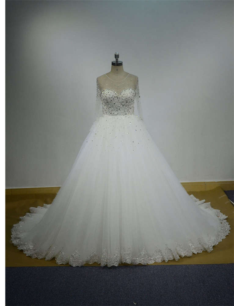 Long Diaphanous Sleeve Round Neck Bubble Skirt Sequins Wedding Dress ...