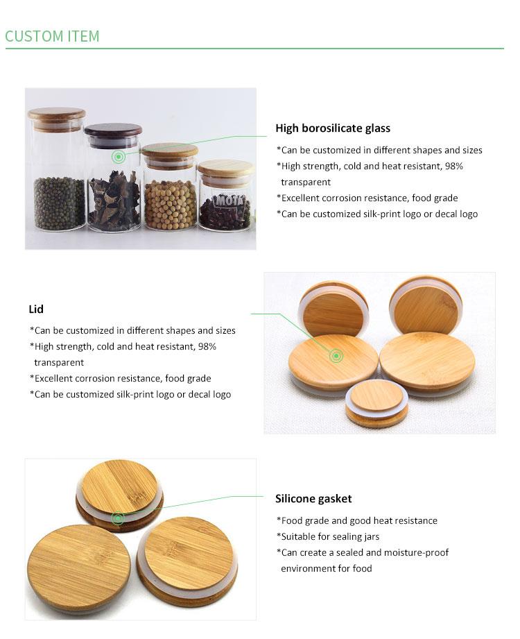 Fiesta cilindro barato frasco de vidrio tapa de bambú hermético frasco de vidrio tapa de madera