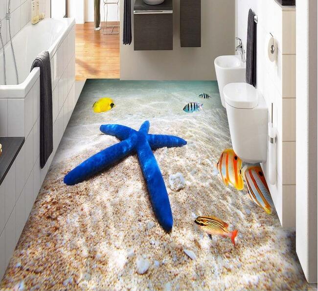 3 d pvc flooring custom wall paper 3d ocean beach sea tropical fish 3 d bathroom flooring tile. Black Bedroom Furniture Sets. Home Design Ideas